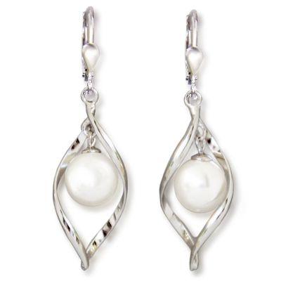 Auffällige Ohrringe aus rhodinierten Sterling Silber und 10mm großer synth. Perle weiß, Ohrhänger | Fi1-OH01w / EAN:4250887403234