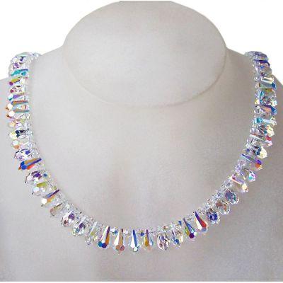 Auffälliges Collier, Halskette aus Swarovski® Kristall Crystal Aurora Boreale, 925 Silber   S-Fo18-AB / EAN:4250887407416