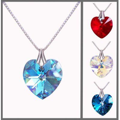 Bermuda Blue (blau) - 925 Silberkette mit kleinem Swarovski® Kristall Herz Anhänger 14mm | PD14_VZR