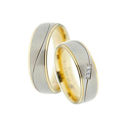 Bicolor Ring-Paar, Verlobungsringe, Freundschaftsringe, Partnerringe, Trauringe aus Titan Ri-TI-05 | Ri-TI-05