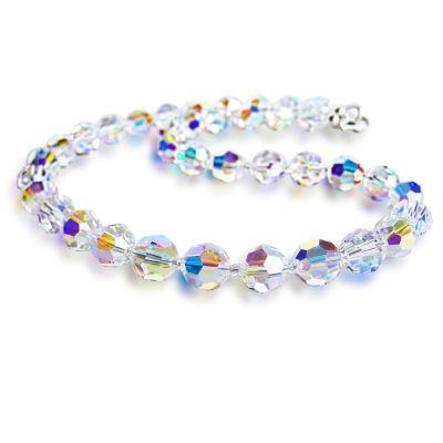 Collier aus Swarovski® Kristallperlen 10mm, Farbe: Crystal Aurora Boreale, 925 Silber | S-K10-AB