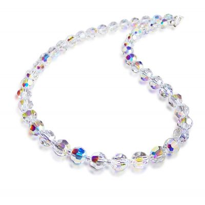 Collier, Halskette aus 8mm Swarovski® Kristallperlen, Farbe: Crystal Aurora Boreale, 925 Silber | S-K08-AB