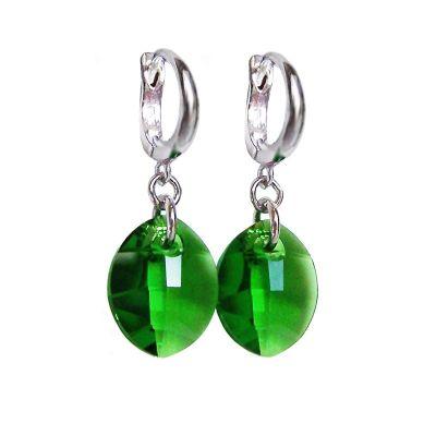 Creolen aus 925 Silber mit Pure Leaf Kristall von Swarovski® in Fern Green, grün, Ohrhänger | Fi-OCR14-PD27-FGr / EAN:4250887401698