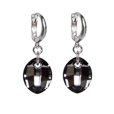 Creolen aus 925 Silber mit Swarovski® Pure Leaf Kristall in Silver Night, grau, anthrazit, Ohrhänger | Fi-OCR14-PD27-SN / EAN:4250887401681