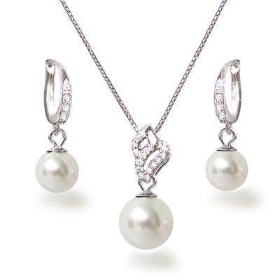 Dezentes Perlen Schmuckset aus 925 Silber rhodiniert | Set-Fi25-ww / EAN:4250887404668