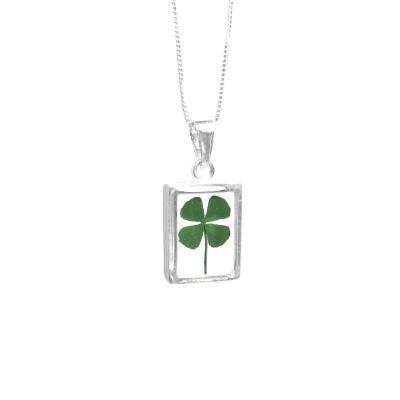 Echtes vierblättriges Kleeblatt als Anhänger mit 925 Silberkette, Glücksbringer | SV-HK-CP04 / EAN:4250887403494