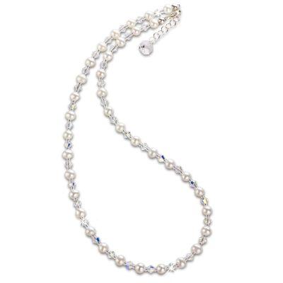 Feine Perlenkette aus Süßwasserperlen und funkelnden Swarovski® Kristall, 925 Silberschließe | S-P11w / EAN:4250887405078