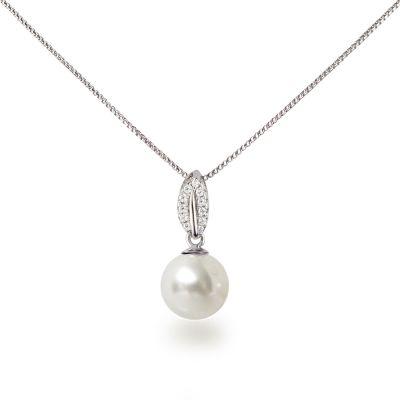 Feine Silberkette mit Anhänger Perle 10mm weiß und Zirkonia, 925 Silber rhodiniert | Fi36-Ku10ww / EAN:4250887404798