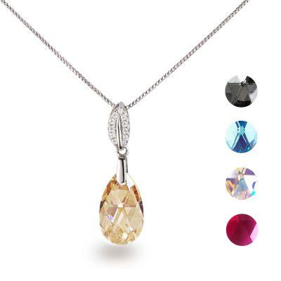 Feine Silberkette mit Anhänger Swarovski® Kristall Tropfen in vielen Farben | Fi36-PD57_VZR / EAN:4250887404224