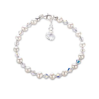 Feines Perlenarmband Süßwasserperlen und Swarovski® Kristall   S-P-A11w / EAN:4250887405085