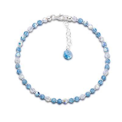 Fußkette aquamarin blau aus funkelnden Swarovski® Kristallperlen und 925 Silber   S-Fu-K04V-AQ-AB / EAN:4250887405306