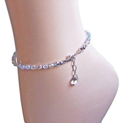 Funkelnde Fußkette aus Swarovski® Kristallperlen und 925 Silber, Farbe Crystal Aurora Boreale | S-Fu-K04V-AB / EAN:4250887400073