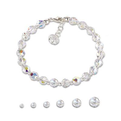 Funkelndes Armband aus crystalfarbenen Swarovski® Kristallperlen mit Aurora Boreale Effekt, verschiedene Perle | SW-A-AB / EAN:4250887405146