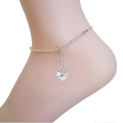 Fußkette aus 925 Silber mit Swarovski® Kristall Herz in Crystal Moonlight | Fu-Sng1-14Mo / EAN:4250887401506