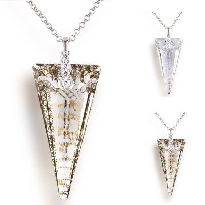 Großer Anhänger Swarovski® Kristall Spike mit Crystal Patina Effekt, 925 Silber Rhodium | Laf_Fi23-PD103 / EAN:4250887405481