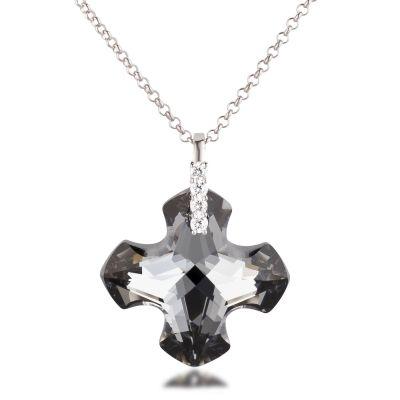 Großer Kreuz Anhänger Swarovski® Kristall Greek Cross Silver Night, 925 Silber Rhodium, wahlweise mit Kette | Laf_PD-GC28-SN / EAN:4250887405528
