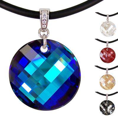Großer runder Swarovski® Kristall Twist Anhänger in 925 Silber Rhodium mit Kautschukband, viele Farben | PD67_Ka / EAN:4250887402886