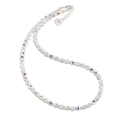 Halskette aus 4mm Swarovski® Kristallperlen Crystal AB | S-K04V-AB / EAN:4250887404873