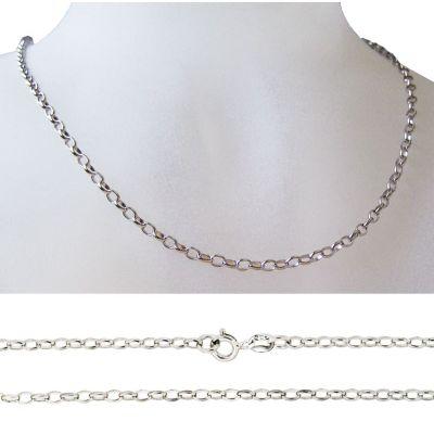 Halskette aus 925 Silber Rhodium, Silberkette, Anhängerkette 45cm, 50cm | RL117RH