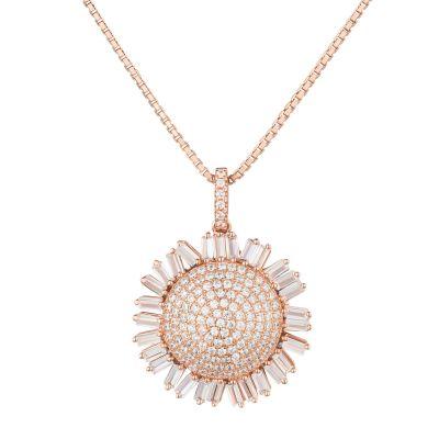 Halskette mit Anhänger Sonnenblume 925 Silber rosegold Zirkonia   CTC-09rg-VZ45 / EAN:4250887407430