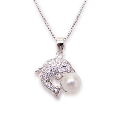 Halskette mit Delfin Anhänger Süßwasser Zuchtperle und glitzernden Zirkonia, 925 Silber rhodiniert | Fi-P112w / EAN:4250887403142