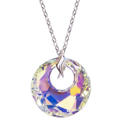 Halskette mit großem runden Swarovski® Kristall Victory Anhänger in Crystal Aurora Boreale, 925 Silber Rhodium   Laf_PD37-AB_RL117 / EAN:4250887401728