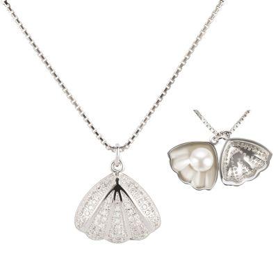 Halskette mit Muschel Anhänger mit Süßwasser Zuchtperle innen, 925 Silber rhodiniert | Fi-P121w / EAN:4250887406112