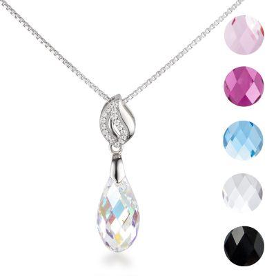 Halskette mit Swarovski® Kristall Briolette Anhänger in vielen Farben, 925 Silber Rhodium | Fi31-PD22_VZ / EAN:4250887404125