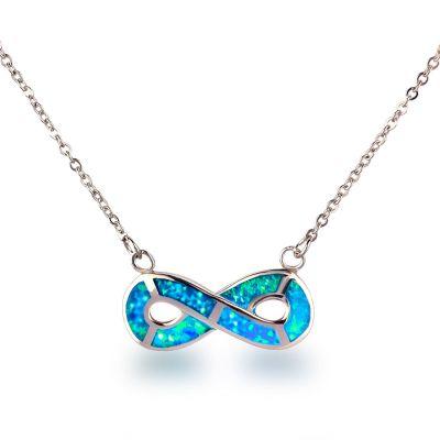 Halskette mit Unendlichkeit-Symbol, 925 Silber Rhodium und synth. Opal türkis blau, Infinity Anhänger | Ca-102 / EAN:4250887405047