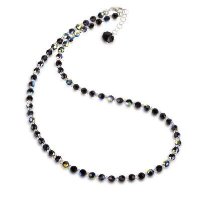 Halskette schwarz aus 4mm Swarovski® Kristallperlen   S-K04V-Jet / EAN:4250887404903