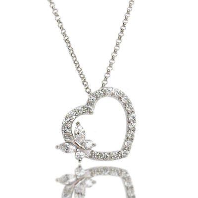 Halskette und Anhänger Herz mit Schmetterling, 925 Silber Rhodium | Car04-RL118 / EAN:4250887401759
