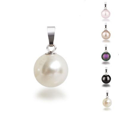 Hell rosa - 925 Silber Anhänger mit synth. Perle 10mm, Farbwahl | AN-Ku10 / EAN:4250887401797