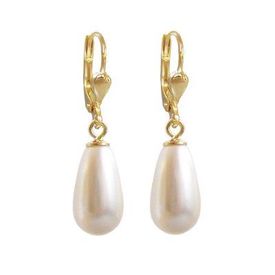 Hochwertig vergoldete Ohrringe mit synth. Perlen in Tropfenform, creme, Gold-Doublé Ohrhänger | OH-Ri01db-w / EAN:4250887400349