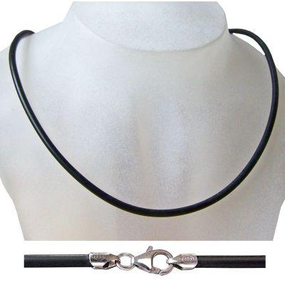 Kautschukband mit Karabiner aus 925 Silber Rhodium, Stärke: 3mm, Länge: 42cm, 45cm, 50cm, 55cm, 60cm | Ka3mm
