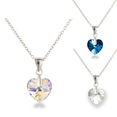 Kinder Kette Herz Anhänger klein 925 Silber mit Swarovski® Kristall | PD14-1RH-RL / EAN:4250887409281
