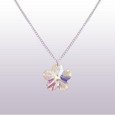 Kinderkette 925 Silber mit Swarovski® Kristall Blumen Anhänger   PD26-1AB-VZR / EAN:4250887401483