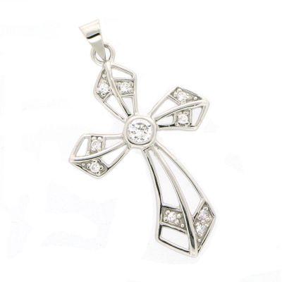 Kreuz Anhänger 4cm groß aus 925 Silber Rhodium mit glitzernden Zirkonia | FiF-AN01 / EAN:4250887400905