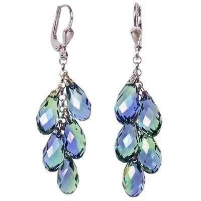 Lange Ohrhänger aus 925 Silber und Swarovski® Kristall Brioletten Traube lavendel und grün   PS-OH21-PLCh / EAN:4250887403074