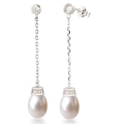 Neu: Lange Perlen-Ohrringe 925 Silber Rhodium Süßwasserperle hängend | Co-OH-P06 / EAN:4250887407942
