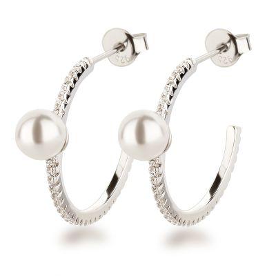 Neu: Schmale Halb-Creolen Ohrringe 925 Silber mit Perle   Fi-OSC41 / EAN:4250887408925