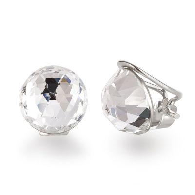Ohrclips aus 925 Silber mit funkelnen Swarovski® Kristall 12mm groß | SW-OC12-C / EAN:4250887400189