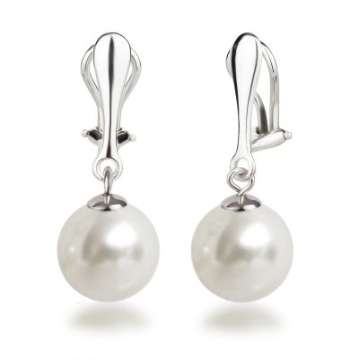 Ohrclips Hänger mit 12mm großen synth. Perlen, Perlenohrringe 925 Silber Clips, Farbwahl | OC-OH-Ku12 / EAN:4250887406020
