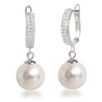 Ohrhänger mit 12mm Perlen 925 Silber Rhodium | Fi-OCH24 / EAN:4250887404828
