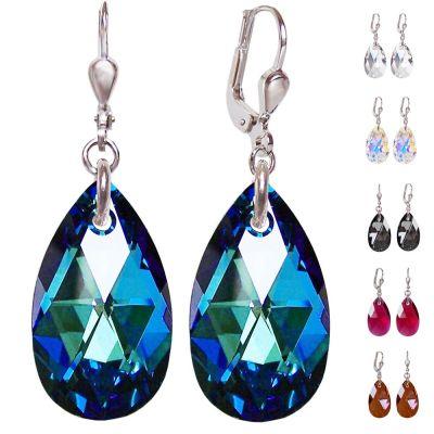 Ohrhänger mit Swarovski® Kristall Tropfen 22mm groß, 925 Silber rhodiniert, verschiedene Farben | PD-OH58
