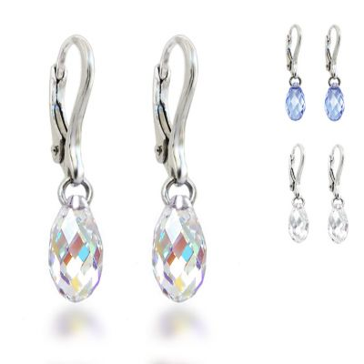 Ohrringe 925 Silber mit kleiner Swarovski® Kristall Briolette, Ohrhänger, auch für Kinder | PD/OH 22/1
