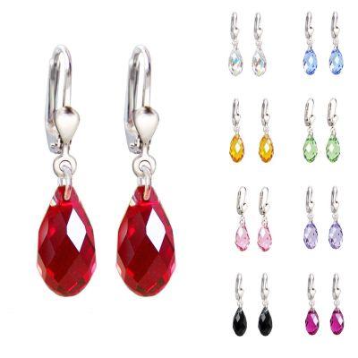 Ohrringe 925 Silber mit Swarovski® Kristall Briolette, Ohrhänger in vielen Farben | PD-OH22