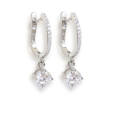 Ohrringe aus rhodinierten Silber mit Zirkonia | Ca-OH04rh / EAN:4250887403517