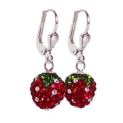 Ohrringe Erdbeere aus 925 Silber und glitzernden Zirkonia, Ohrhänger | OH-Erd10 / EAN:4250887400066