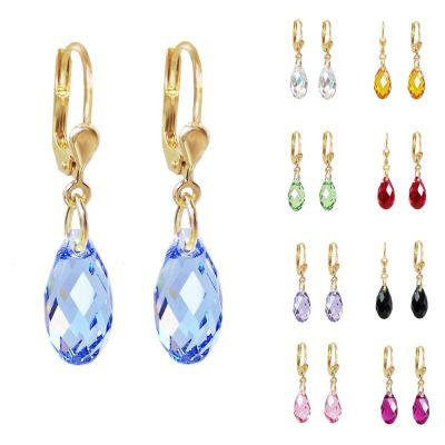 Ohrringe hochwertig vergoldet mit Swarovski® Kristall Briolette, Ohrhänger in vielen Farben | PD-OH22db