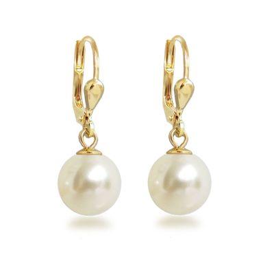 Ohrringe hochwertig vergoldet mit synth. Perle 10mm, Gold-Doublé Ohrhänger Farbwahl | OH-Ku10db / EAN:4250887405597